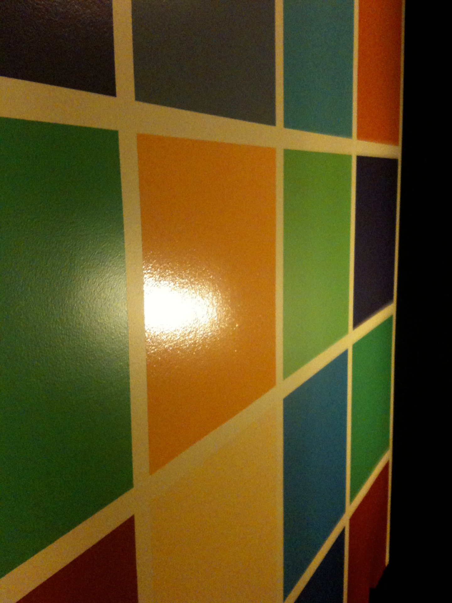 A wall painted with squares