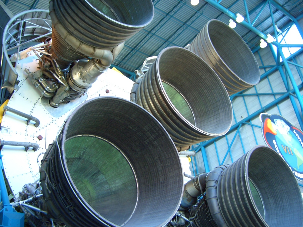 The first-stage engines of a Saturn V rocket